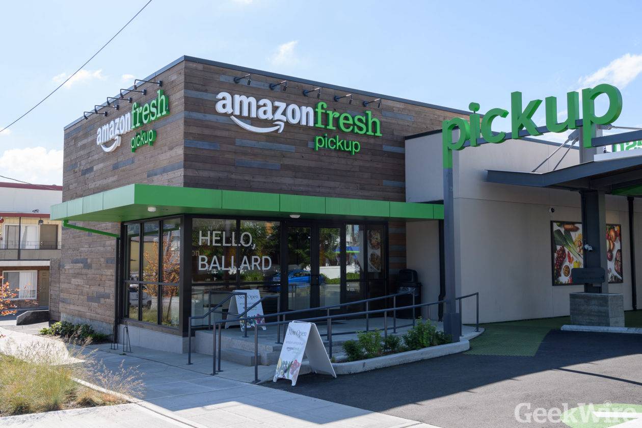 Opening of Amazon Fresh Pickup in Seattle's Ballard neighborhood (GeekWire Photo / Kevin Lisota)